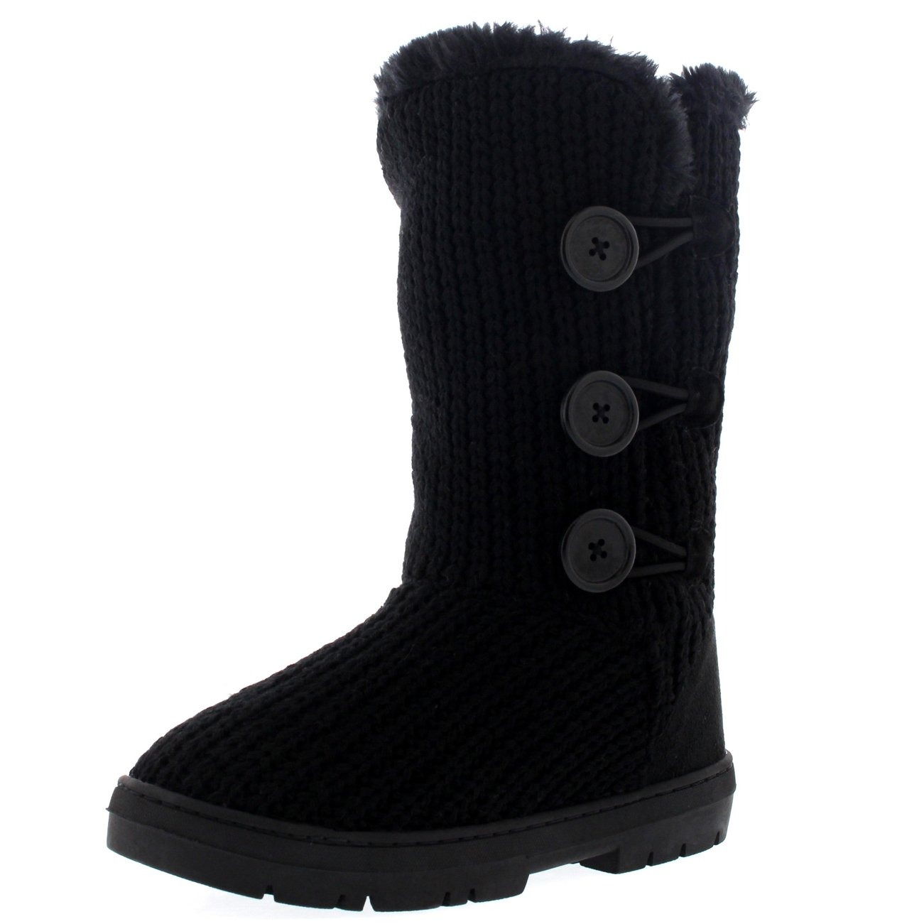 Holly Womens Triplet Button Waterproof Winter Snow Boots - 8 - BLK39 EA0288