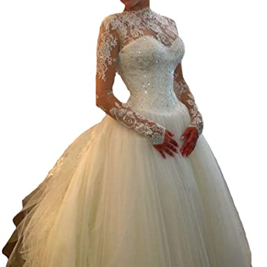 QueenBridal Muslim Arabic Bridal Gowns Long Sleeve Tulle Ball ...