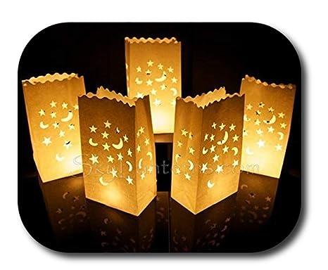 Bolsas decorativas para velas, Linternas de papel bolsas - 50 unidades, diseño de luna y estrellas