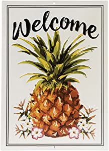 Open Road Brands Welcome Watercolor Pineapple Sign, Rustic Embossed Metal Wall Art - an Officially Licensed Product Great Addition to Add What You Love to Your Home/Garage Decor
