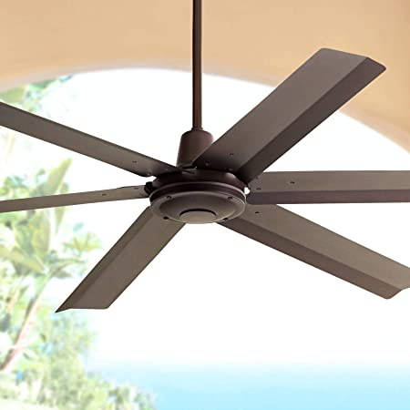 60 Turbina Max Modern Industrial Outdoor Ceiling Fan with Remote Brown Oil Rubbed Bronze Damp Rated for Patio Porch – Casa Vieja