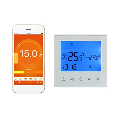 Wifi termostato inteligente controlador digital programable inalambrico por smartphone APP / o pantalla tactil 16A programador