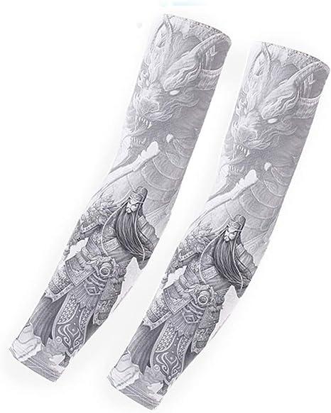 XIUtao Protección Solar Cuff Ice Seda Hombre Tatuaje Manga Brazo ...