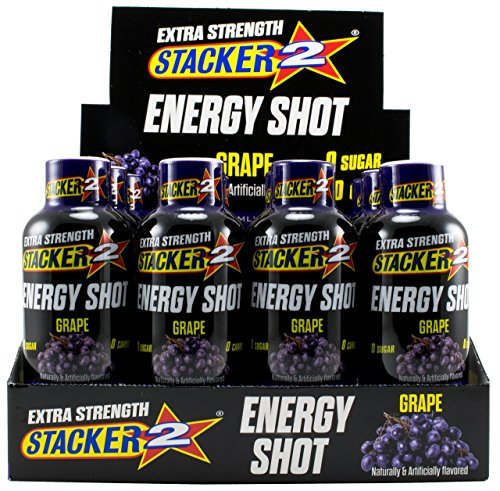 Stacker 2 Extra Strength Energy Shots, Grape, 12 Bottles, 2 fl oz in each Shot (1)
