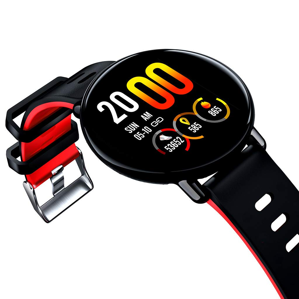 for Android iOS, Sport Smart Watch, Fitness Calorie Blood Pressure Heart Rate Monitor, Remote Photography Smart Bracelet (Red) by YNAA (Image #4)
