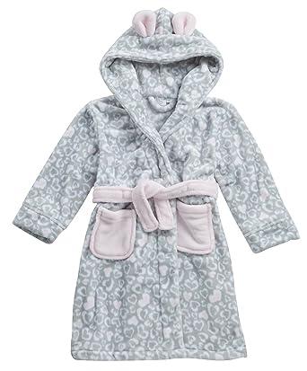 a5a3ed9995 MINIKIDZ Girls Childrens Kids Robe Dressing Gown Leopard Hearts Flannel  Fleece