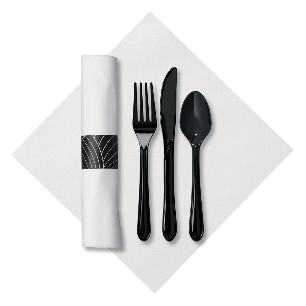 Hoffmaster 119990 Linen-Like CaterWrap Pre-Rolled Dinner Napkin and Heavyweight Cutlery, Mystic, White/Black (Case of 200)