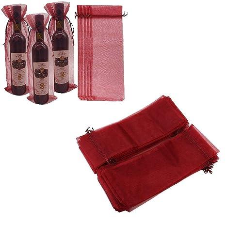 Xiton 10 x organza bolsas de regalo vino de la botella por ...