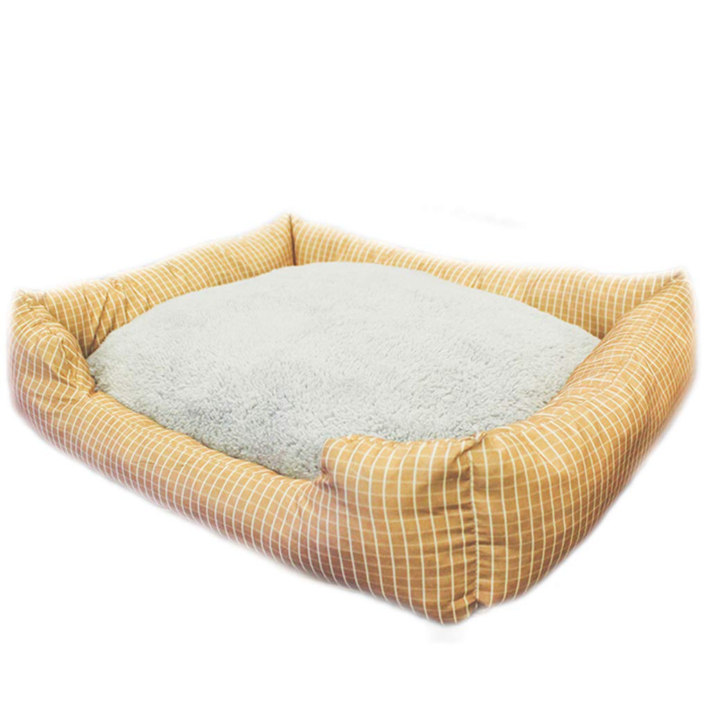 M(3 to 5 kg for pets) Coffee Plaid Thickening Pet Nest Four Seasons Universal Removable And Washable Small Medium Canvas Dog Cat Litter Mattress Villa Warm MUMUJIN (Size   M(3 to 5 kg for pets))