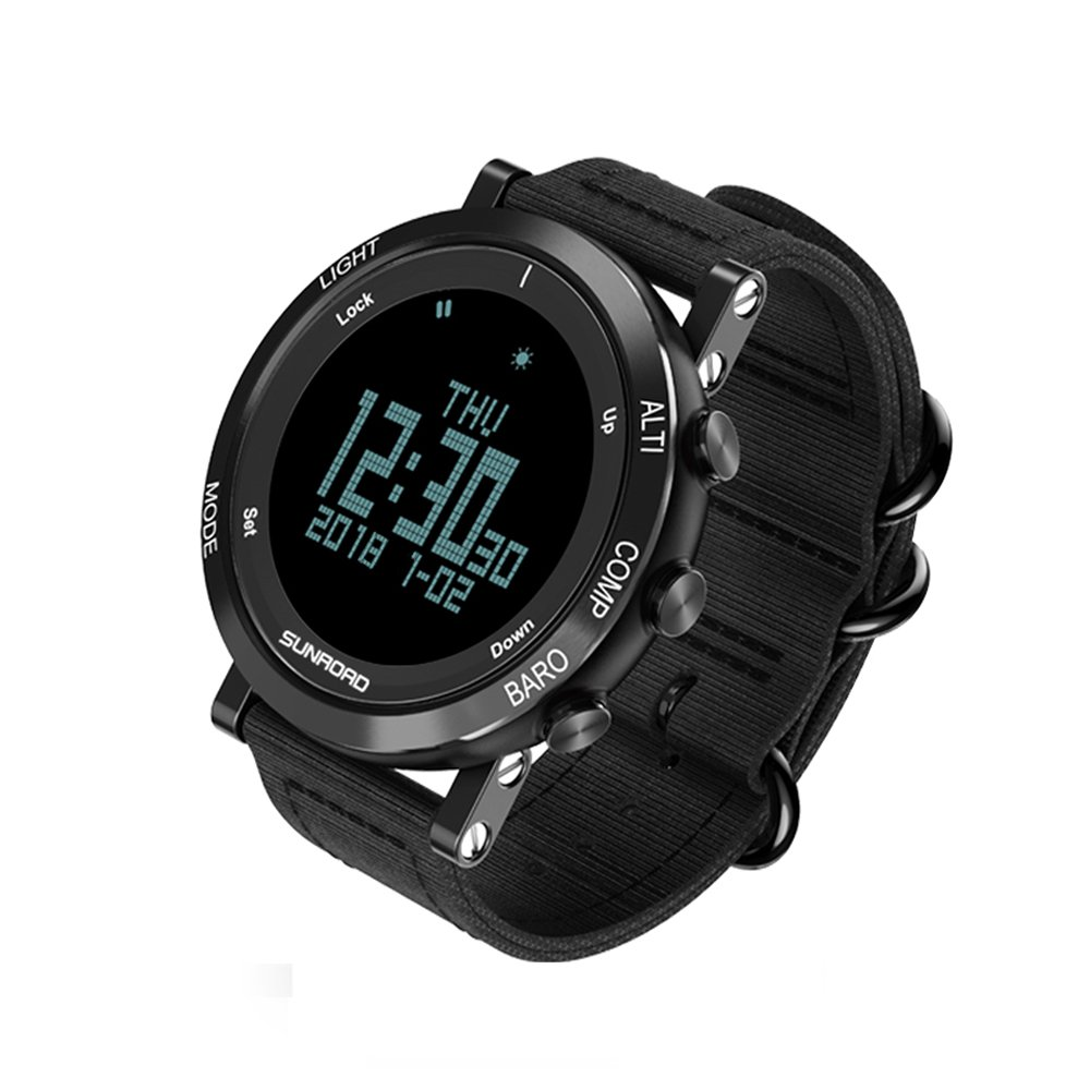 SUNROAD Men's Smart Digital Sports Watch with LED Screen Large Face Altimeter Watch & Waterproof Casual Luminous Stopwatch(Black)