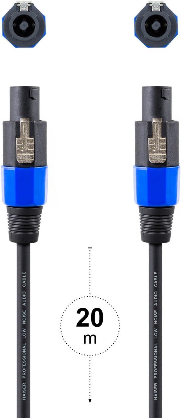ber/ührungssichere Kontakte HAISER/® 10 m PA Lautsprecher-Kabel 2-Polig 2,5 mm/² L/änge: 10 m Professionelles Boxen-Kabel Speakon kompatibel S/äure- und /Öl-fest mit Spannzangen-Zugentlastung