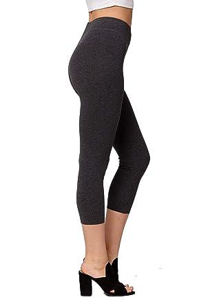 66dd00e9c4ab22 Premium Ultra Soft Stretch High Waisted Cotton Leggings for Women with Yoga  Waistband - Capri Charcoal