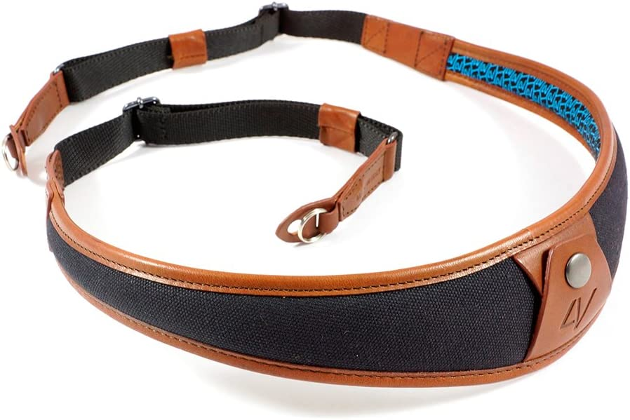 Black//Brown 4V Design ALA Handmade Leather /& Canvas Camera Strap w//Universal Fit Kit 2ALLUCV0923