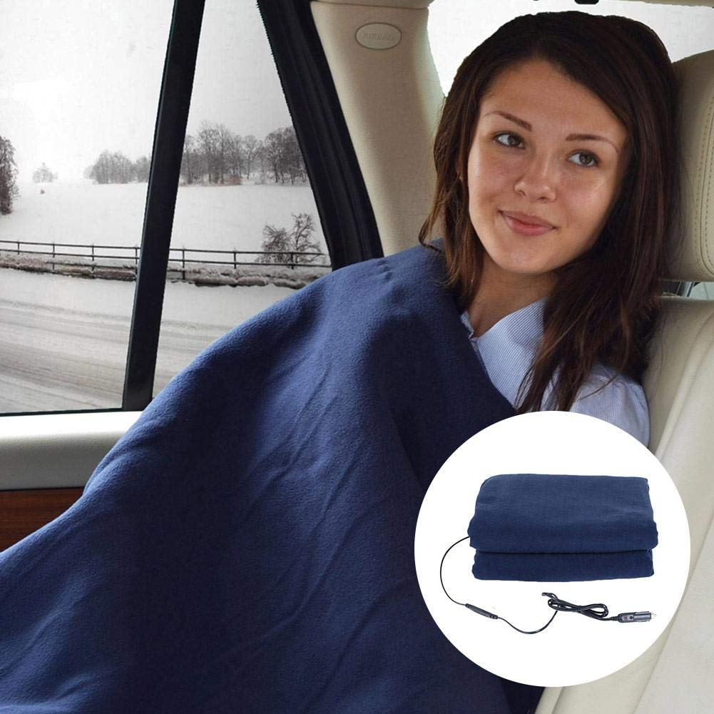 Car Supplies Winter Hot Navy Blue Fleece 12v Car Constant Temperature Heating Blanket Car Electric Blanket IMSHIE