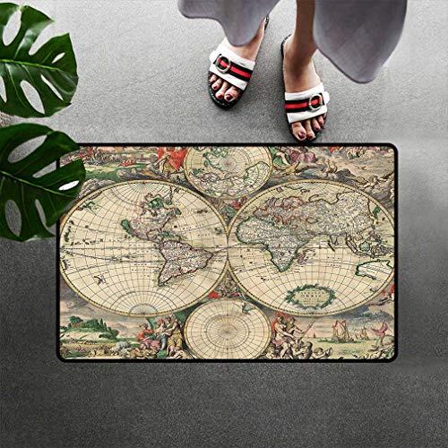 Old World Globe Map Doormats, Antique Ancient Historical America Africa Europe Pattern Unique Decor Digital Art Low Profile Door Mats Rugs for Indoor Entry, 16'' W x 24''L Beige Green Gray Orange
