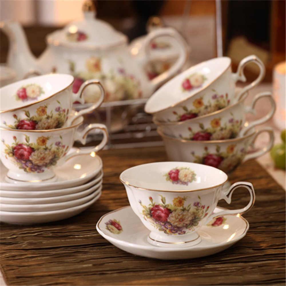 ufengke White And Red Rose Flower 15 Pieces European Ceramic Tea Set Tea Service Coffee Set