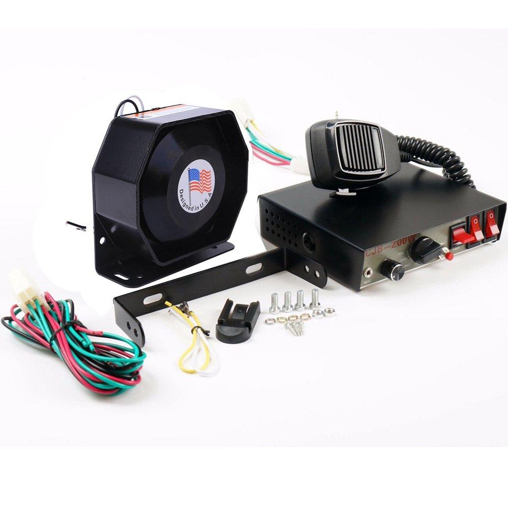 8 Soun 200W Loud Car Warning Alarm Police Fire Siren Horn PA Speaker MIC System