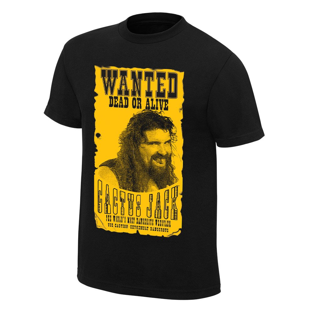 Wwe Cactus Jack Wanted Retro Tshirt In Black