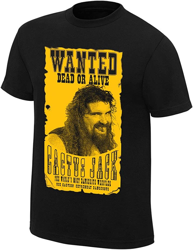 WWE Authentic Wear Cactus Jack Wanted Retro T-Shirt Black 2XL