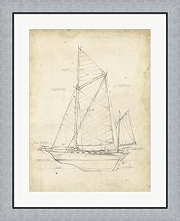 Amazon sailboat blueprint v by ethan harper framed art print sailboat blueprint v by ethan harper framed art print wall picture flat silver frame malvernweather Image collections