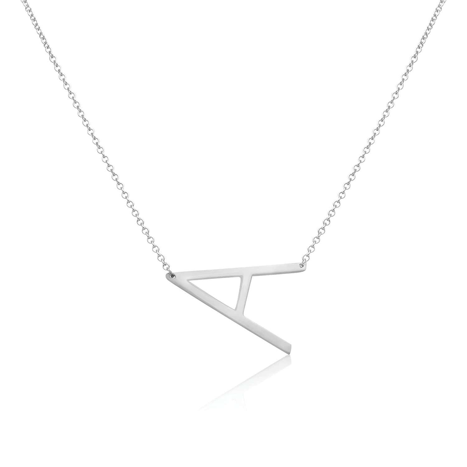 34c662a79269 Amazon.com: Beautiful Personalized XL Silver Stainless Steel Side Initial  Necklace Pendant with - A Letter: Jewelry