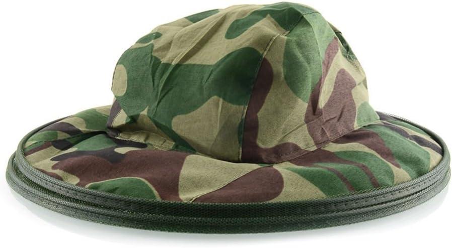 Yardwe Apicoltura con Cappello Anti-zanzara Bug Maschera Cappello Cappello Apicoltura Esterna Attrezzatura da Pesca Camouflage
