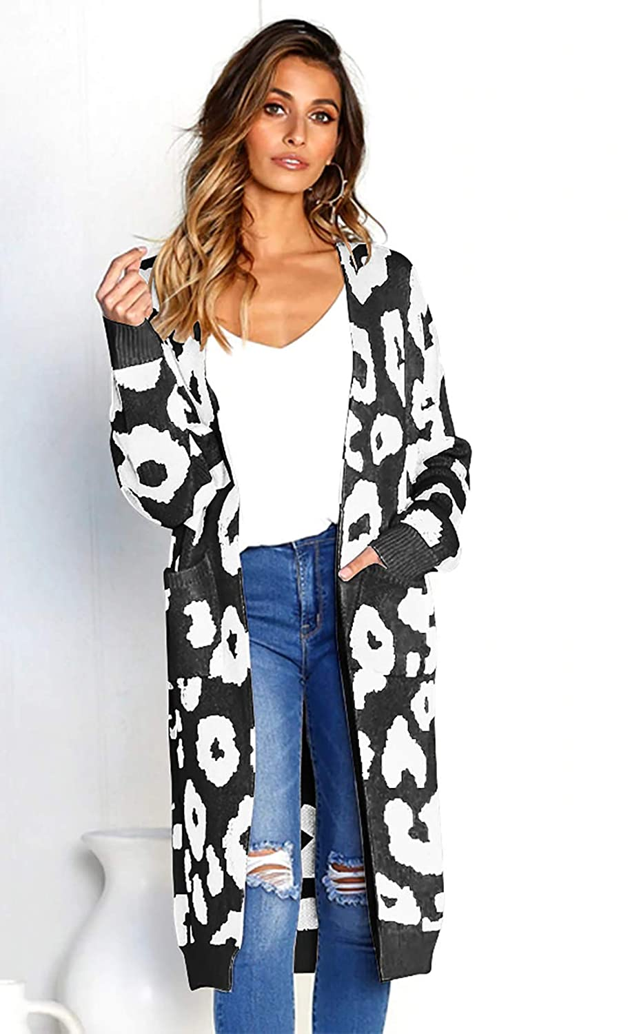 9e7361db70b BTFBM Women Long Sleeve Open Front Leopard Knit Long Cardigan Casual Print  Knitted Maxi Sweater Coat Outwear with Pockets at Amazon Women s Clothing  store