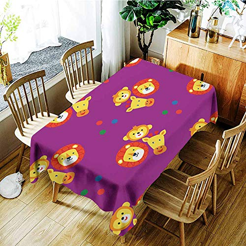 Elastic tablecloth rectangular,Funny faces of animals on a purple background Wallpaper for children Stylized applique embroidery cute animals monkey lion giraffe Vector seamless pattern,Modern Minima