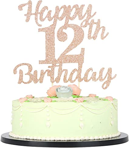 Brilliant Lveud 12Th Birthday Cake Topper For Happy Birthday 12 Rose Gold Personalised Birthday Cards Epsylily Jamesorg