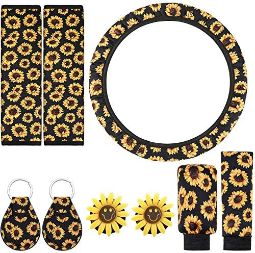 9 Pieces Sunflower Car Accessories Set Includes Sunflower Steering Wheel Cover Gear Shift Cover Handbrake Cover 2 Pieces Seat Belt Covers 2 Pieces Sunflower Car Vent Clips 2 Pieces Key Rings