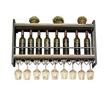 Muebles de Bar Estante de Pared de Madera Retro Soporte de Hierro metálico Estantes de Vino
