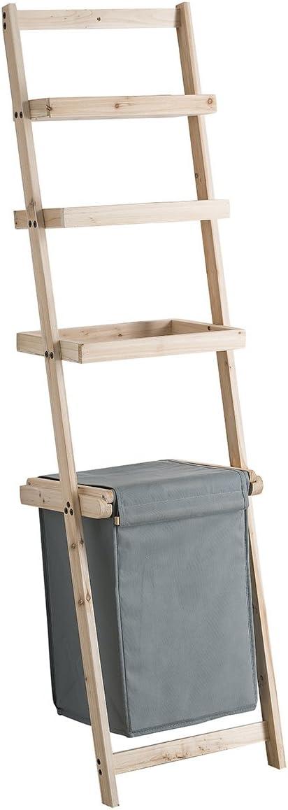 Mueble escalera con cesto para ropa color gris: Amazon.es: Hogar