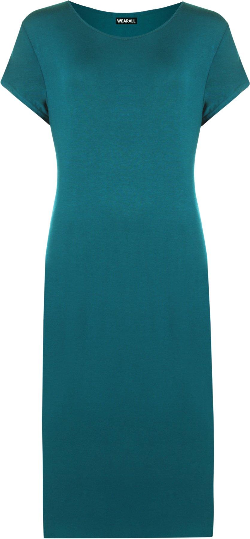 WearAll Women's Plus Size Plain Midi Dress - Teal - US 12-14 (UK 16-18)
