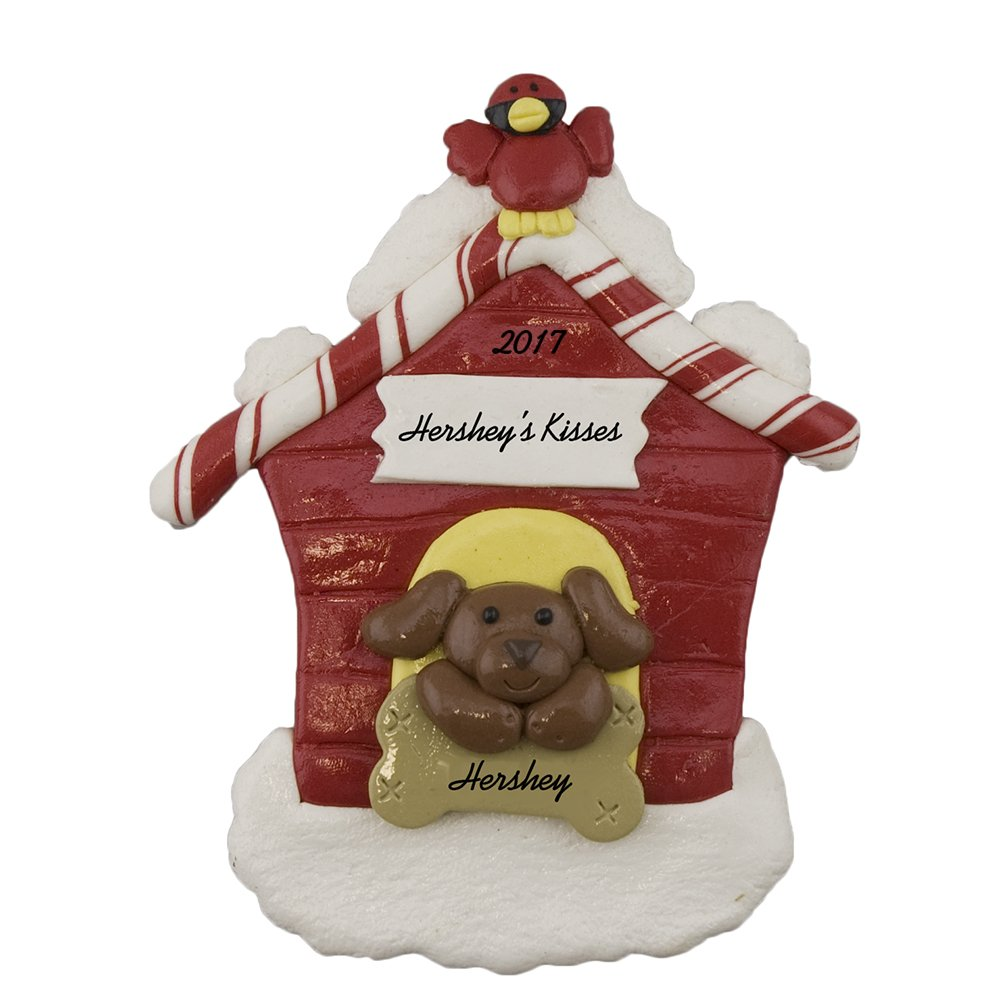 Calliope Designs Brown Dog in Dog House Personalized Christmas Ornament