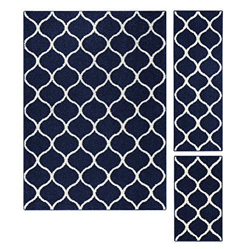 Maples Rugs Area Rugs Sets - Rebecca [3pc Set] Non Slip Large Carpet Runner Rug [Made in USA] for Living Room and Kitchen, Rugs Set, Navy Blue/White