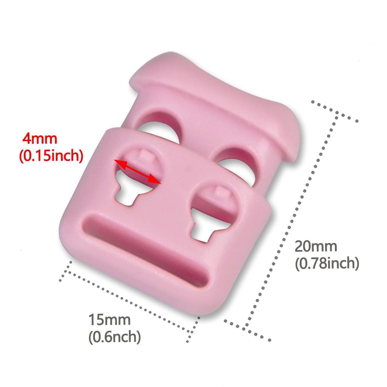 20 PCS, Pink Double Hole Plastic Cord Locks End Spring Stop Toggle Stoppers Multi-Colour