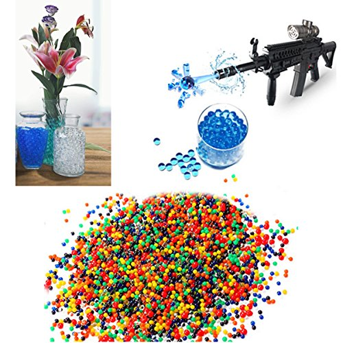 JINFYUAN Water Beads (20000 Beads) for Kids Sensory Experience, Toy Guns with Bullet Beads[Rainbow Mix], Party Decoration and Watering Plant,Diameter (7mm-8mm) ()