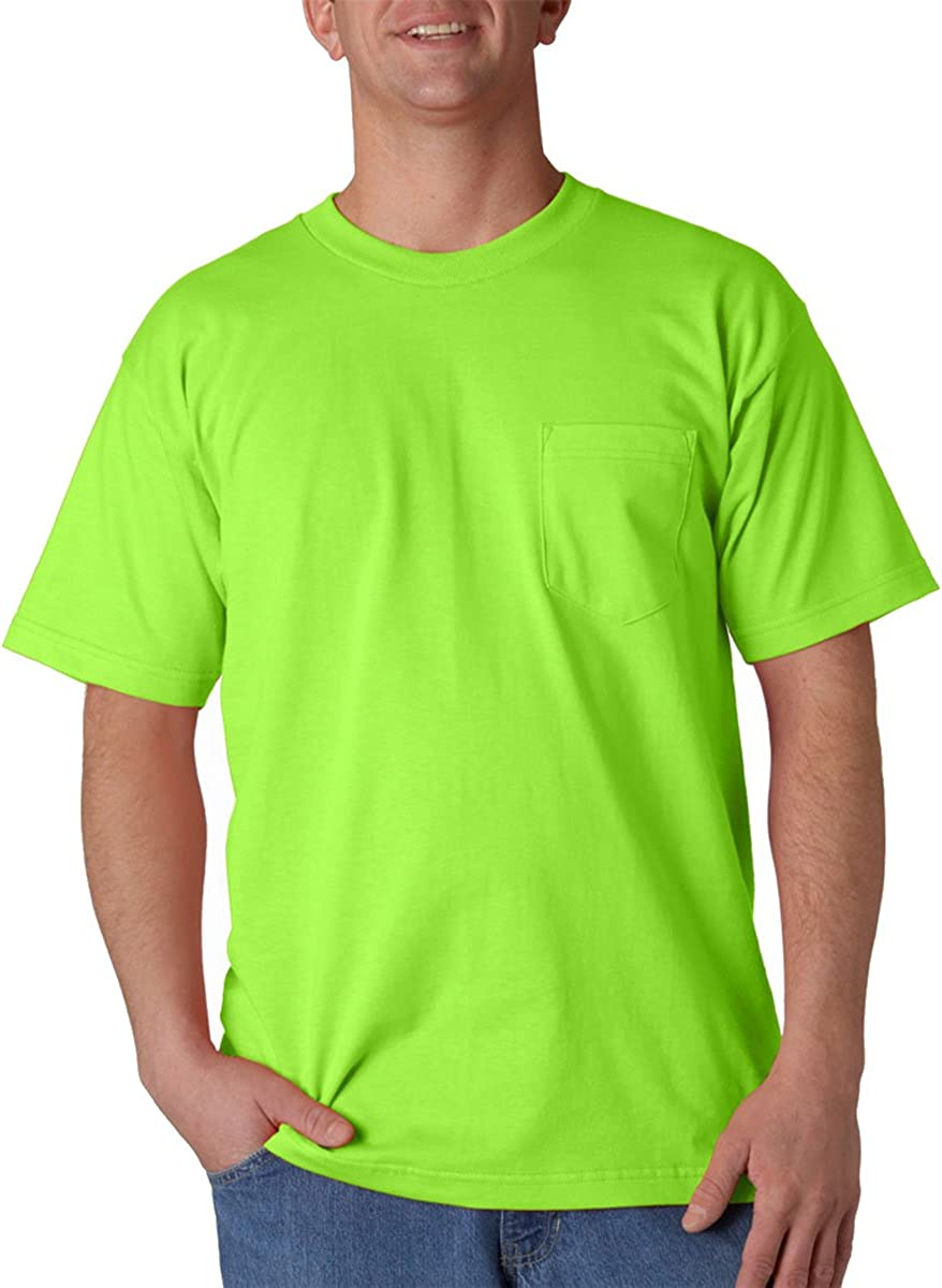 Bayside Union-Made Short Sleeve Men/'s T-Shirt with a Pocket Tee S-4XL 3015