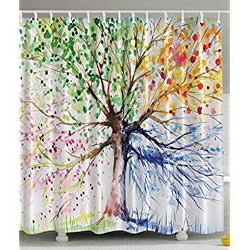 this item colorful tree four seasons shower curtain berry green red yellow navy brown extra long bath decorations bathroom decor sets with hooks marriage