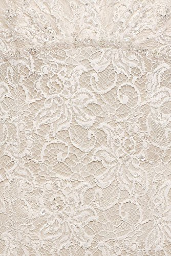 Bridal Wedding Extra Solid David's Length Neckline Lace Dress 4XLT9612 Style V White Trumpet Deep dxpwFSqX