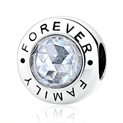 63e1010bf Lily Jewelry Family Forever with Clear CZ 925 Sterling Silver Bead Fits  Pandora European Charm Bracelet: Amazon.co.uk: Jewellery