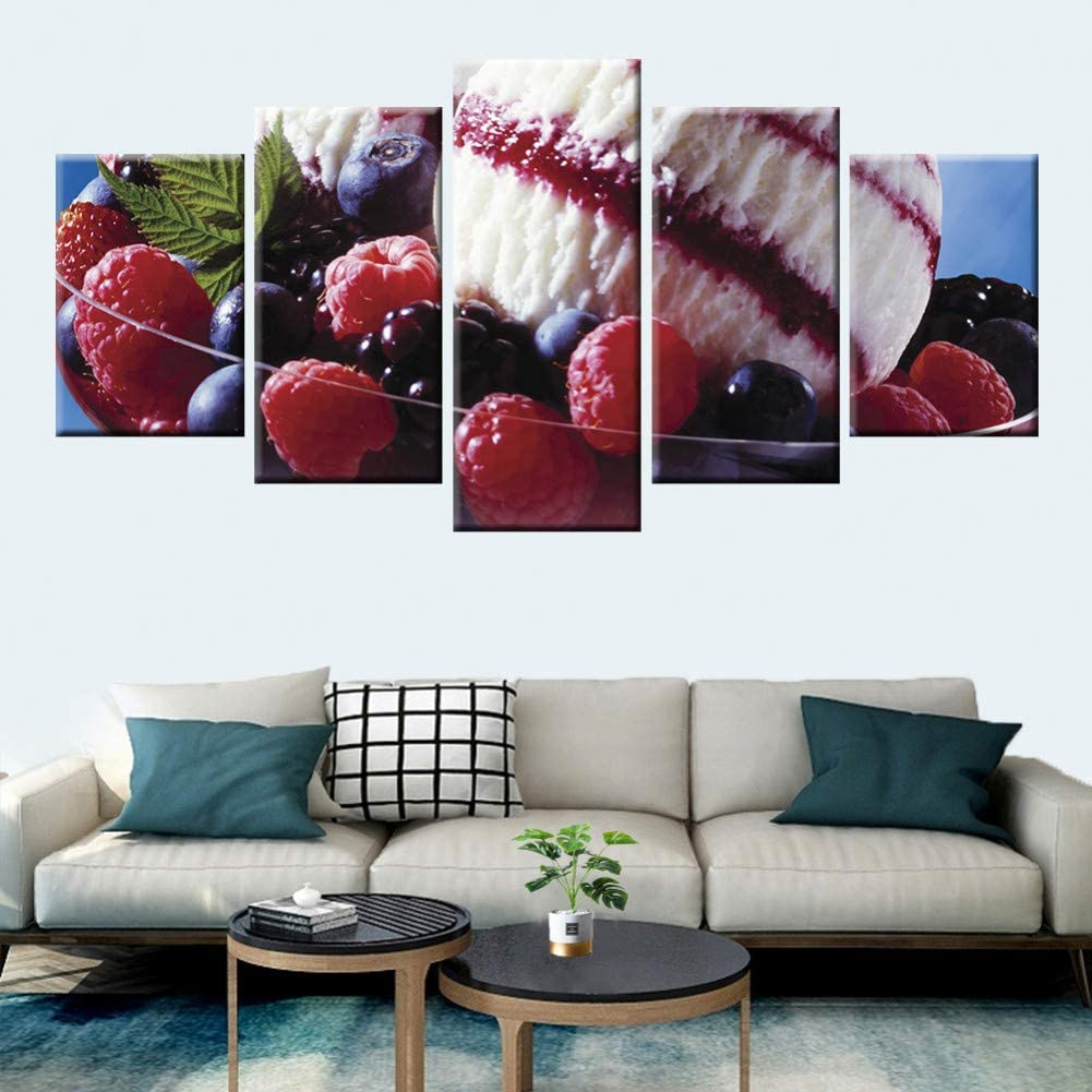 Strawberry Ice Cream Kitchen 5 Pieces Canvas Wall Art Picture Poster Home Decor