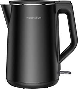 HadinEEon 1.5L/6 Cups Electric Kettle, 1500W Stainless Steel Interior Double Wall Electric Tea Kettle, Cool Touch Water Boiler, Cordless, BPA-Free with Auto Shut-Off & Boil-Dry Protection