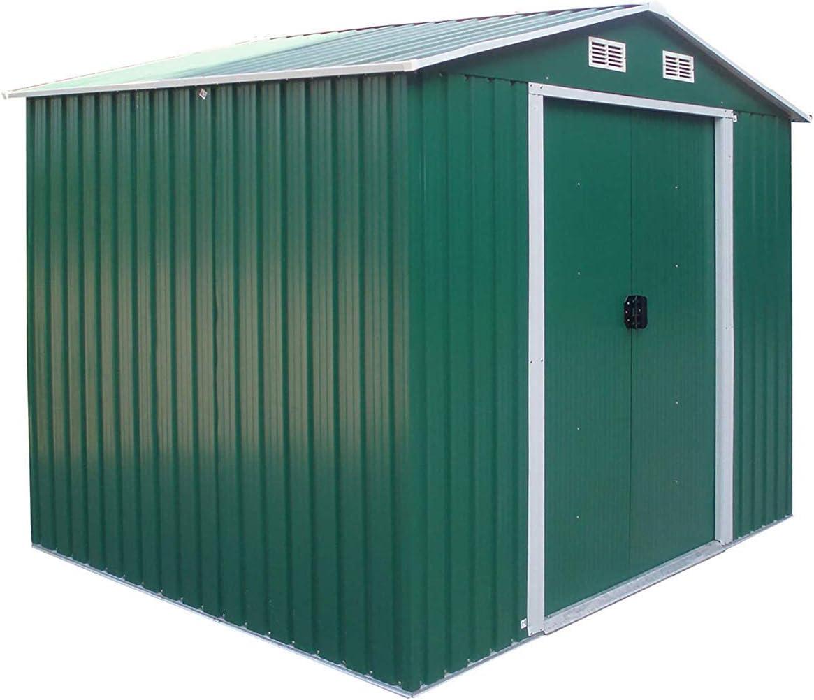 FIDOOVIVIA Caja de Almacenamiento de jardín de Metal Resistente al Agua anticorrosión con 2 Puertas correderas, 4 Rejillas de ventilación y Base de Piso (6 pies x 8 pies, Verde): Amazon.es: Jardín