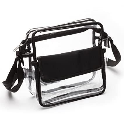 60d536e8b0 Amazon.com   Clear See Through Cross-Body Messenger Bag Clear Purse ...