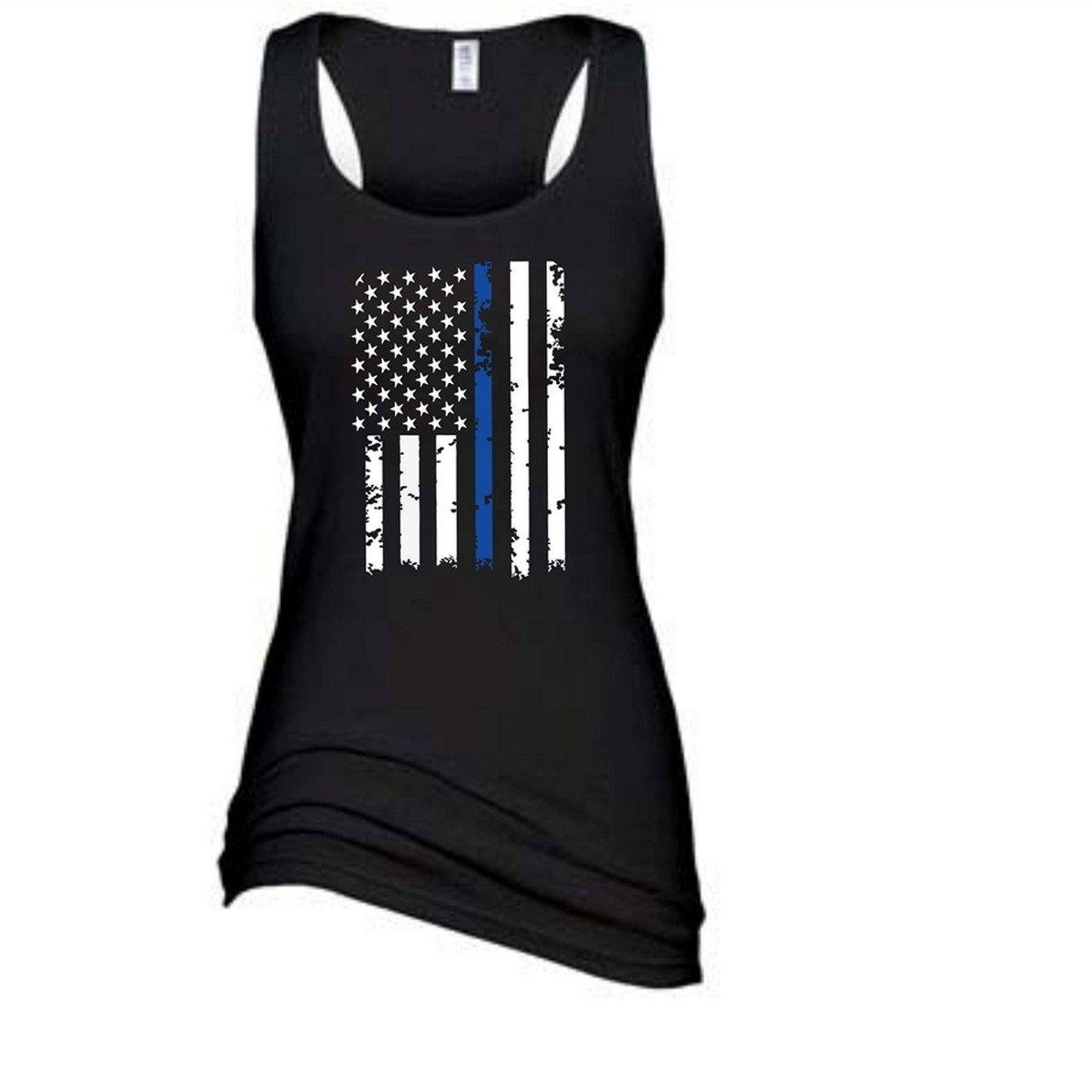 Women's Distressed Thin Blue Line Vertical U.S. Flag Racerback Tanktop