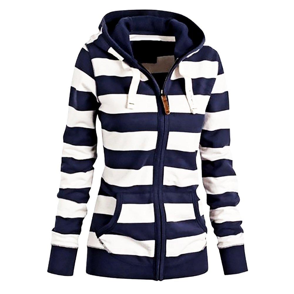 Pop lover Womens Fashion White Navy Striped Cotton Coat Hoodie Sweatshirt 4XL