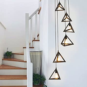 Simple American Stair Lamp Modern Rotary Staircase Pendant Light Double  Building Long Villa Staircase Lamp Lighting