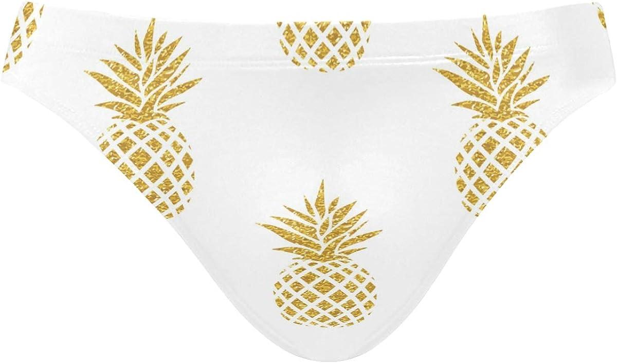 ALAZA Mens Swim Briefs, Men Swimwear Briefs, Mens Swim Bikini Swimwear S-3XL Gold Pineapple