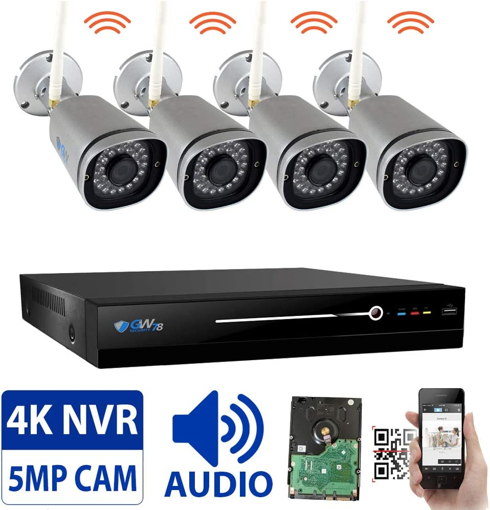 GW 8 Channel 5MP H.265 Network Wireless WiFi Security Camera System NVR Kit – 4 x HD 1920P Video Audio Surveillance Outdoor Indoor Wireless IP Cameras Built-in Microphone, 100FT IR Night Vision